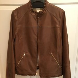 ( nwot ) Faux Leather Jacket w/ Ruffle Details